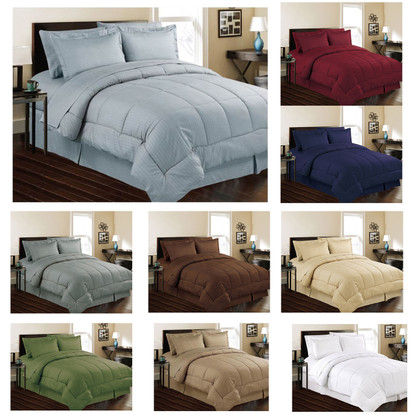 Embossed Dobby Stripe Microfiber 8 Piece Bed In A Bag