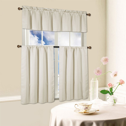 Window Kitchen Curtain Beth 3 Piece Energy Efficient