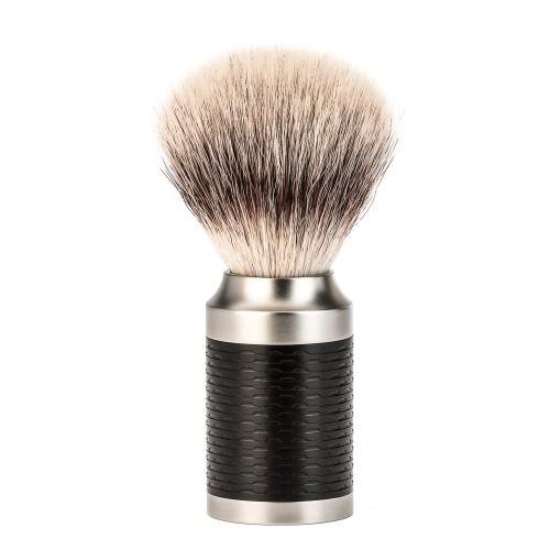 Muhle Rocca Steel Matte Black Shaving Brush with Silvertip Fibre