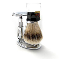 Chrome Razor and Brush Stand
