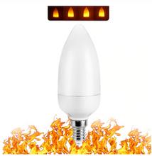 LED Flame Effect Candelabra Base Light Bulb - Fire Flicker Lamp