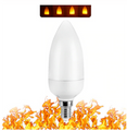 LED Flame Effect Candelabra Base Light Bulb - Fire Flicker Lamp