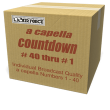 A capella countdown numbers from #40 through #1, performed by L.A. Air Force's world-class singers for your radio broadcast station, Internet station or podcast!