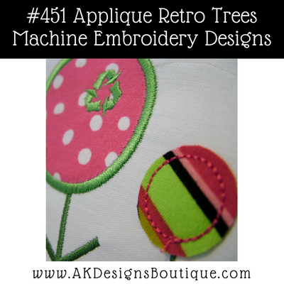 Picture of the stitch out includes the #3 satin stitch applique retro tree and #3 size recycle symbol from the #473 Recycle Symbol set [recycle symbols are not included in this set].