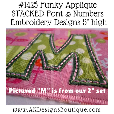 "Close-up example of stitched uppercase applique ""M"" from our 2"" set & our Sippy Cup Template"
