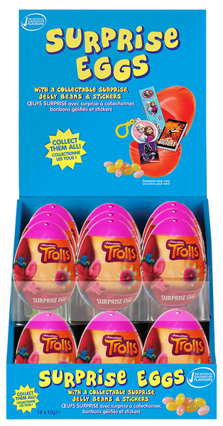 Surprise Eggs - Trolls, by Kinnerton,  and more Confectionery at The Professors Online Lolly Shop. (Image Number :11088)