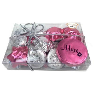 Chocolate Gems - Blossom Pack - Hearts and StarDrops, by Chocolate Gems,  and more Confectionery at The Professors Online Lolly Shop. (Image Number :12553)