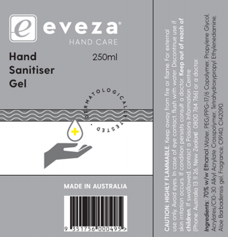 Eveza Hand Sanitiser Gell at The Professors Online Lolly Shop. (Image Number :14469)
