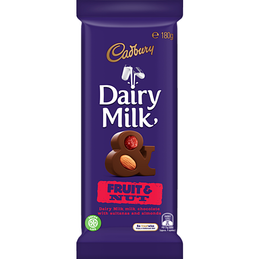 Cadbury Dairy Milk Fruit and Nut Blocks, by Cadbury,  and more Confectionery at The Professors Online Lolly Shop. (Image Number :14360)