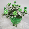 Vase of Green Carmations