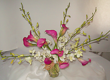 Casual arrangement of exotic mini calla lilies and dendrobium orchids.