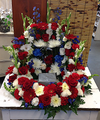 Red White and Blue  Wreath Surround Cremains Arrangement