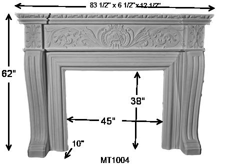 MT1004 Cast Stone Mantel Dimensions