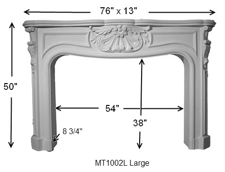MT1002L Cast Stone Mantel Dimensions
