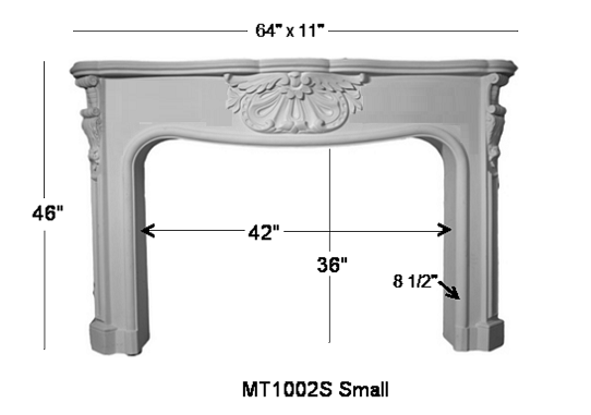 MT1002S Cast Mantel Dimensions