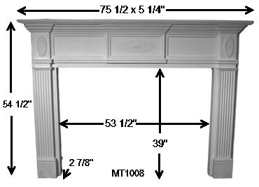 MT1008 Cast Stone Mantel Dimensions | Sunburst