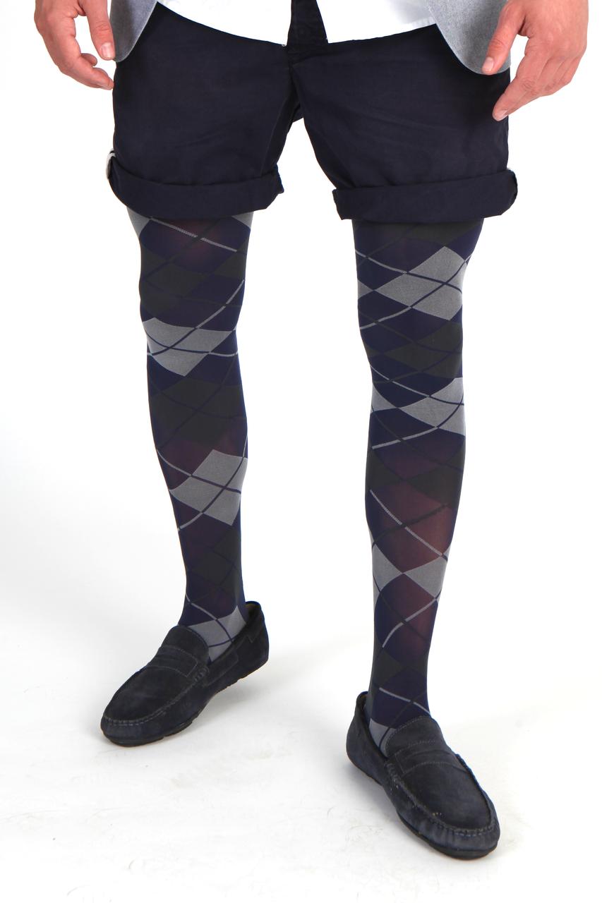 7c0f468e9a Details about Adrian Grating Argyle Opaque Fashion Tights for MEN M-XXL