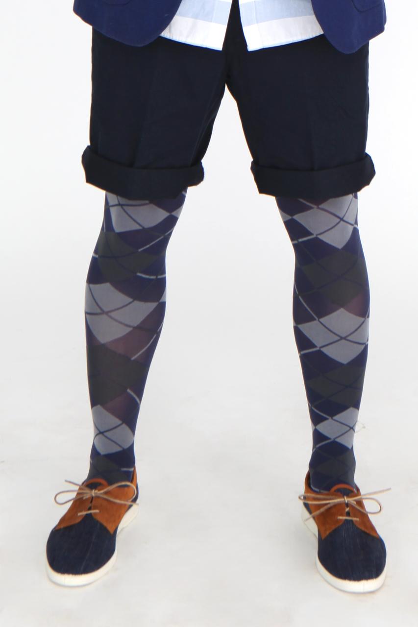 Grating Mens 3D Opaque Patterned Tights 60 Denier for Men Adrian