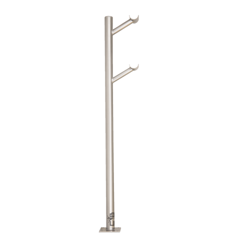 Frappé Double  - Floor Mounted Ballet Barre Bracket - Silver
