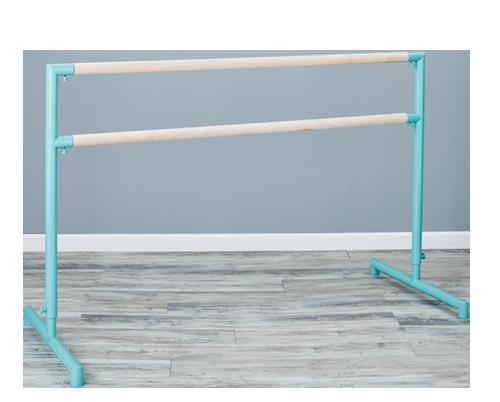 Custom Barres 2nd Arabesque - Adjustable Ballet Barres - Adjustable Portable Ballet Barre - Tiffany Blue / Unfinished Maple Barre