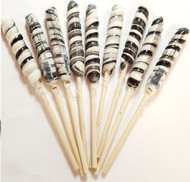 9 inch Twist Whirly Lollipops 72 units 1oz Black & White