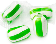 Cylinder Striped Hard Candy Green and White 2 lbs
