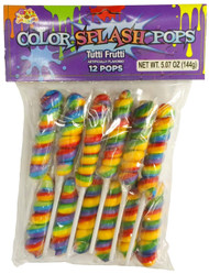 CLEARANCE - Twisted Whirly Lollipops Rainbow 12 Count Tutti Frutti Flavor