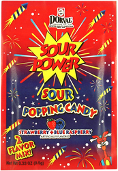 Sour Power Popping Candy Strawberry & Blue Raspberry 18 Pouches