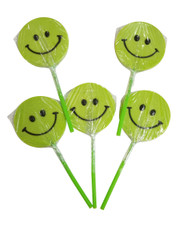 Happy face Green Lollipop 12 Count