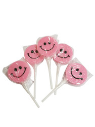 Teeny Happy face Pink Lollipop 12 Count