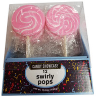 Swirly 3 Inch Round Pops Pink 12 Count