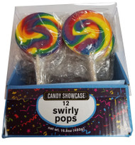 Swirly 3 Inch Round Pops Rainbow 12 Count