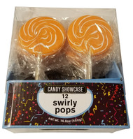 Swirly 3 Inch Round Pops Orange 12 Count