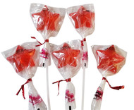 Bendy Pop Long Star Shaped Red Lollipop