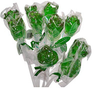 Bendy Pop Long Rose Shaped Green Lollipop