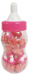 Clearance - HUGE Jelly Beans Bottle With 20 Count Mini Baby Bottle Favors Pre Filled With Pink Jelly Beans-Ready Made Party Favors