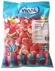 Vidal Strawberry Gummi Drops Candy, Pink and White, 2.2 Pounds