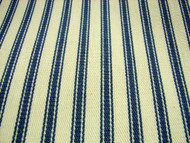 French Ticking Fabric  Blue Cream 25 mtrs