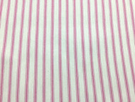 PINK WHITE HERRINGBONE  COTTON TICKING STRIPE FABRIC P/MTR