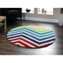Chevron Plush Multi 150cm Round