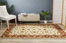 Noble Beige/Red Traditional Rug