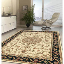 Noble Beige/Black Traditional Rug