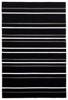 Black Stripe Wool Rug