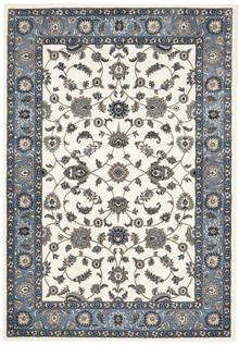 Noble White Blue Traditional Rug