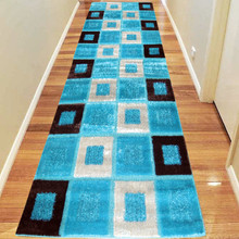 Amore Luxury 1206 Turquoise 80x300cm Shaggy Runner