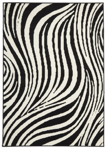 London 2127 Black Swirl Rug