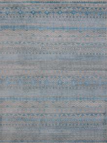 Feza Aqua Blue Hand Knotted Viscose Rug