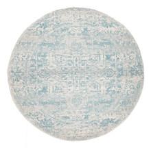 Evoke 253 White Blue 150cm Round Rug