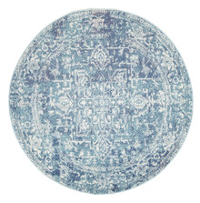 Evoke 253 Washed Blue 150cm Round Rug
