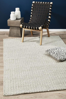Studio 321 Silver Viscose And Wool Rug